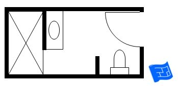 small bathroom floor plan with sink on shower wall