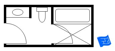 Japanese style small bathroom floor plan including a bath and shower