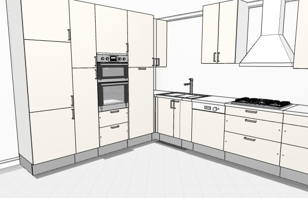 Superbe L Shaped Kitchen With Storage Wall 3D ...