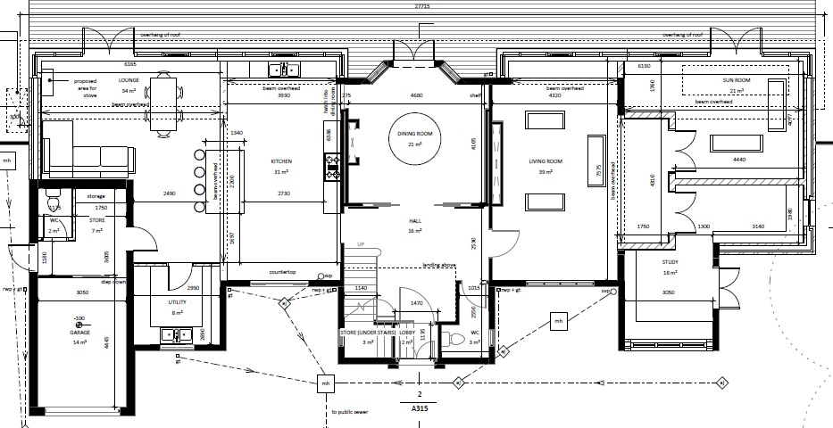 architectural floor plans ground floor set forward across back ...