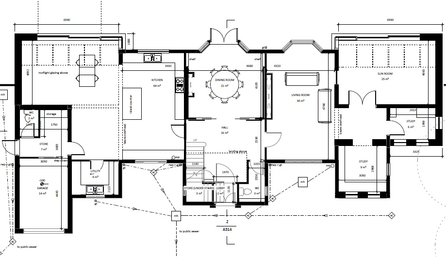 architectural floor plans ground floor set forward boths sides