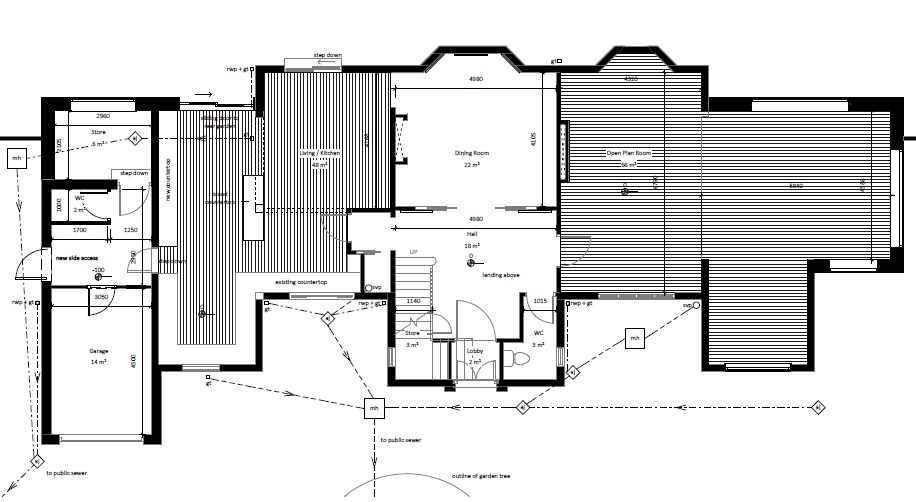 architectural floor plans two symmetrical wings set back