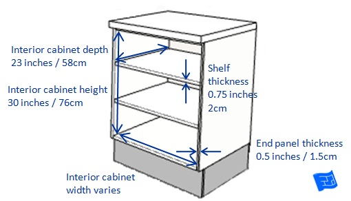 base kitchen cabinet interior dimensions