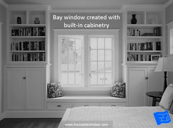Bay window designs created with built-ins
