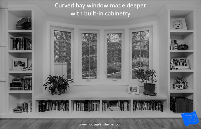 Bay window designs enhanced with built-ins