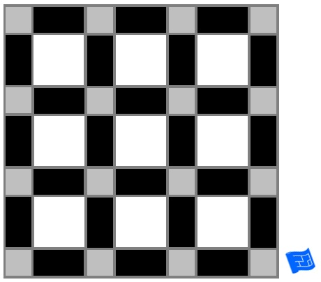 Square block lattice tile pattern - three colors
