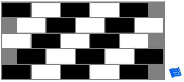 Subway tile brick tile pattern alternate black and white
