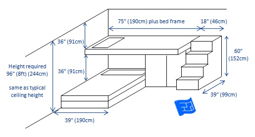 built in bunk beds 2 bunks l shape 3d - Bunk Beds Design Plans