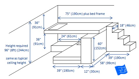 built in bunk bedsn 2 bunks T-shaped 3d
