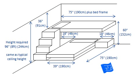 bunk beds 2 bunks t-shape 3d 3