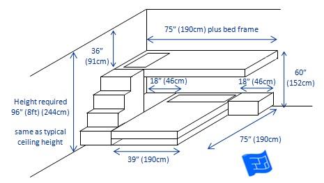 bunk beds 2 bunks t-shape 3d 3