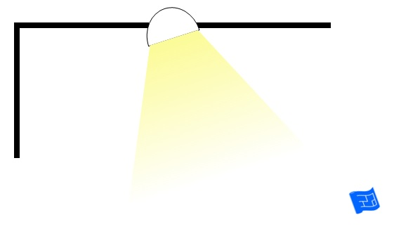 ceiling downlight angled into room