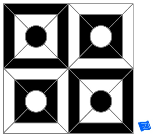 Circle tile pattern - art deco - cut squares