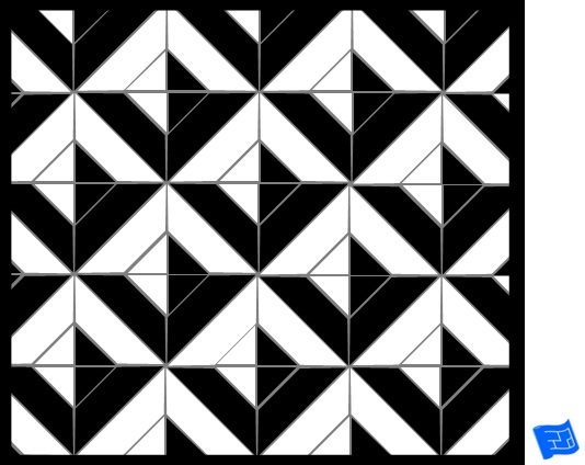 Square tile pattern - large cut square - shadow pyramid