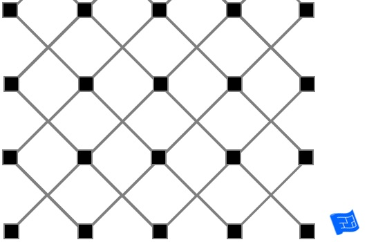 Corner squares diagonal tile pattern - alternate