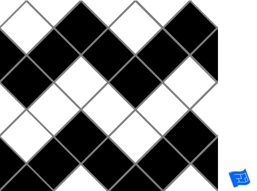 Diagonal square grid tile pattern - zig zag