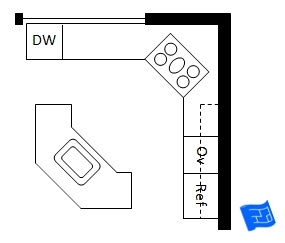 Double L shaped kitchen 45 degree orientation