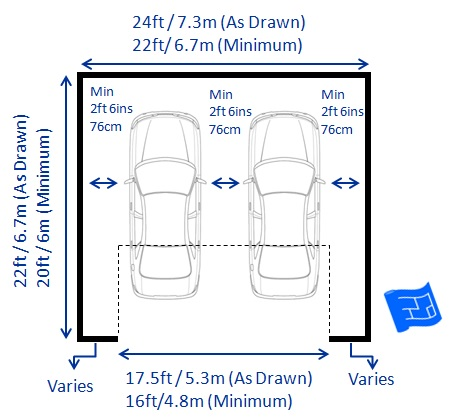 Garage dimensions for Double car garage door size