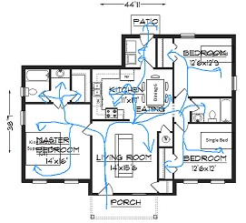 Floor plan with circulation marked