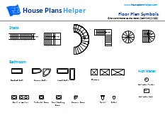 free floor plan symbols - stairs, bathroom