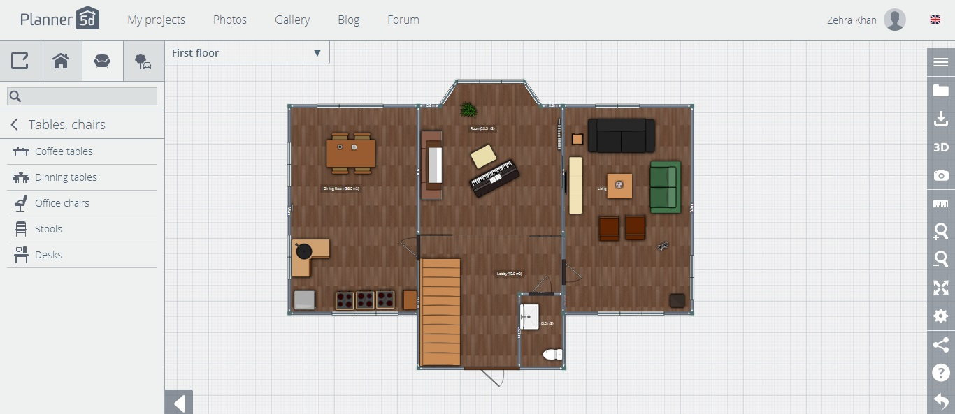 planner 5d review ground floor with furniture