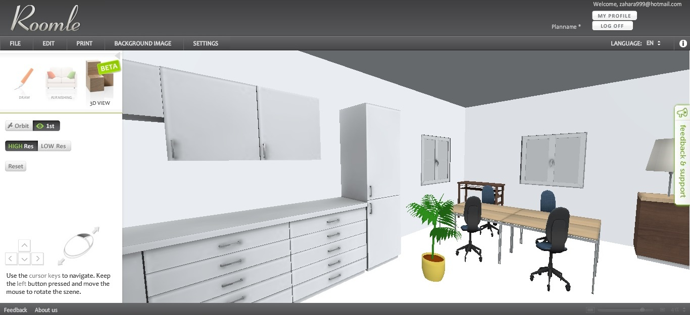 Free Floor Plan Software Roomle 3D View Inside A Room ...