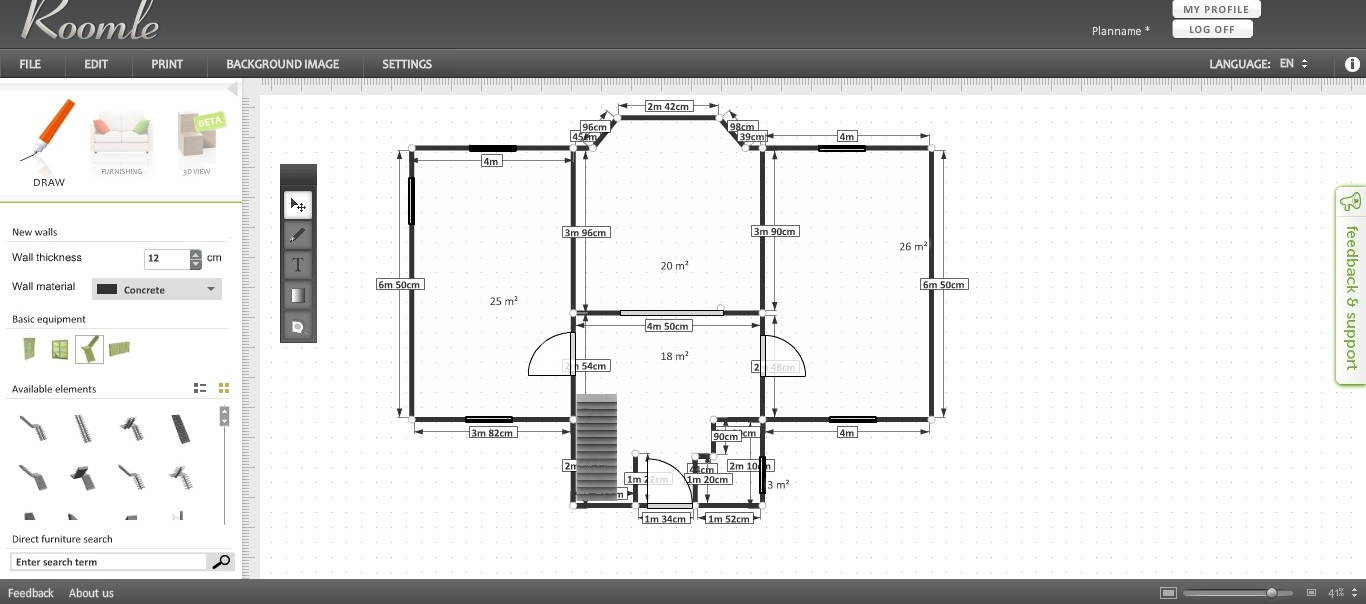 Free floor plan software roomle review for Furniture planning tool free