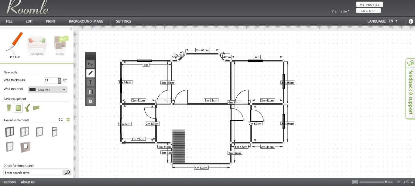 Free floor plan software roomle review for Floor plan drawing apps