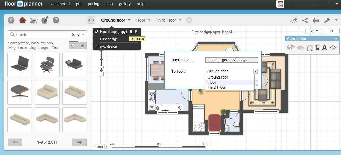 Free floor plan software floorplanner review free floor plan software floorplanner clone a floor malvernweather Images