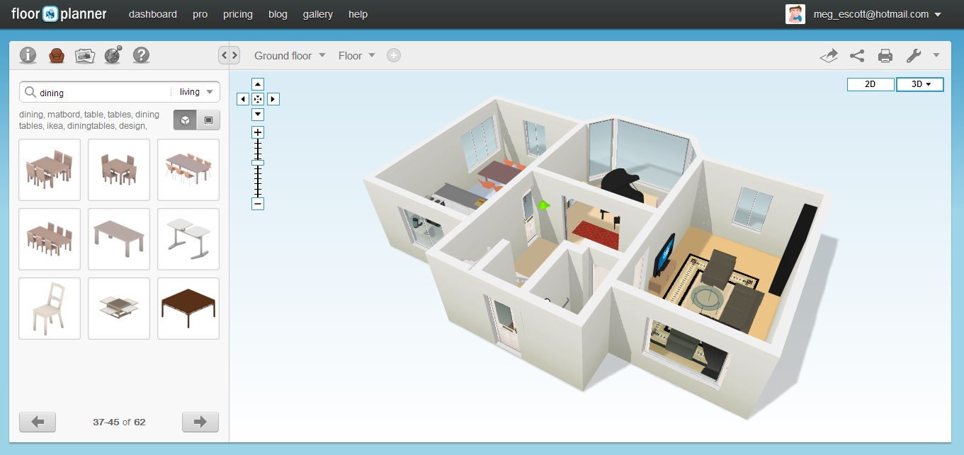 free floor plan software floorplanner 3d view 1 - 3d House Planner Free