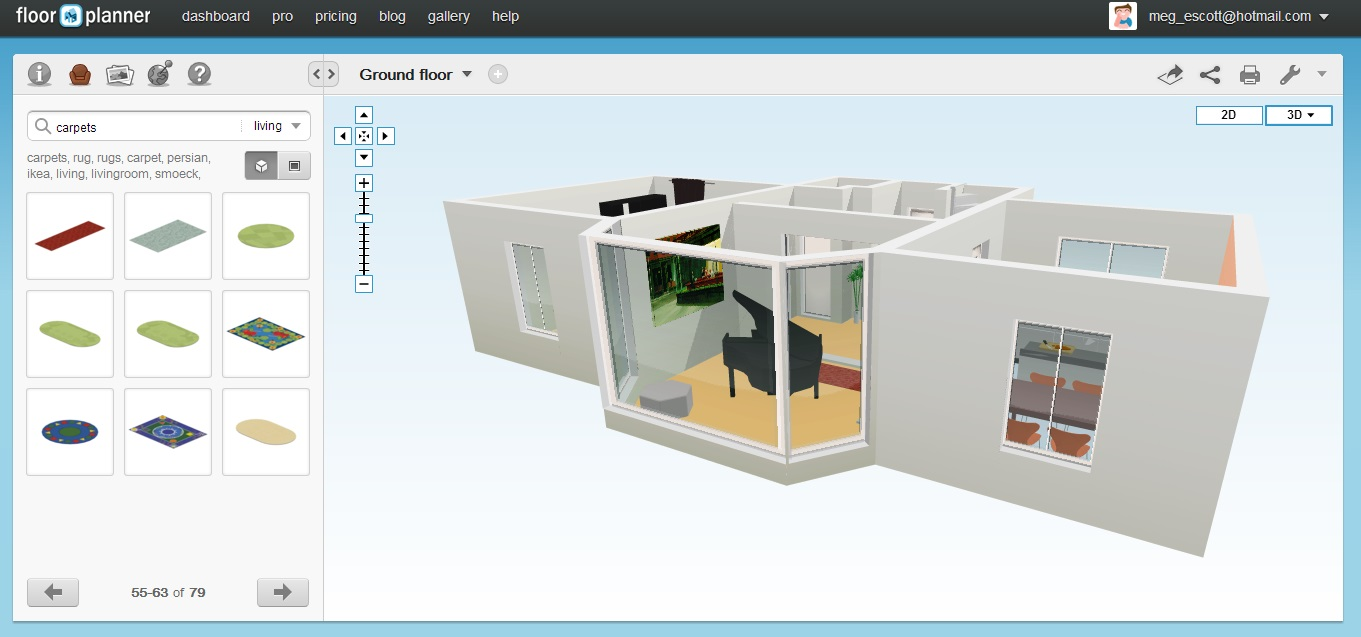 Free Floor Plan Software Floorplanner 3D View 2