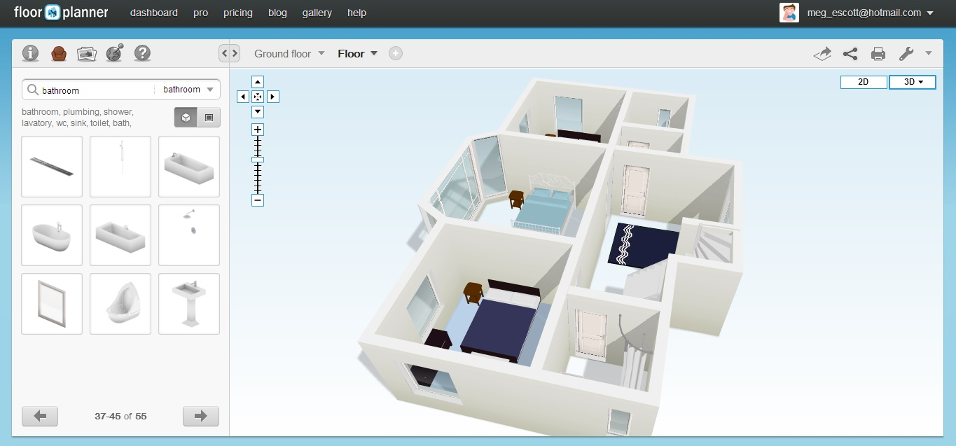Free Floor Plan Software Floorplanner First Floor 3d View
