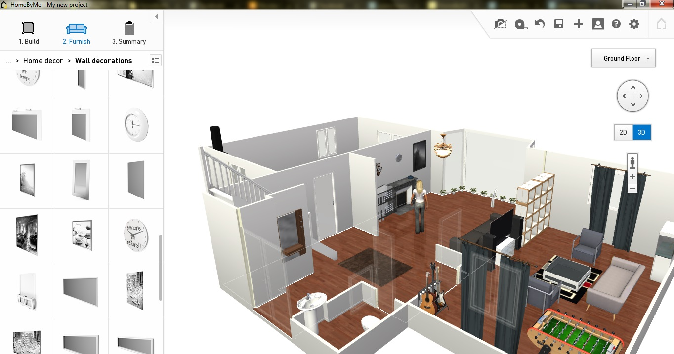 2d home design. HomeByMe Ground Floor Furniture  Free Plan Software Review
