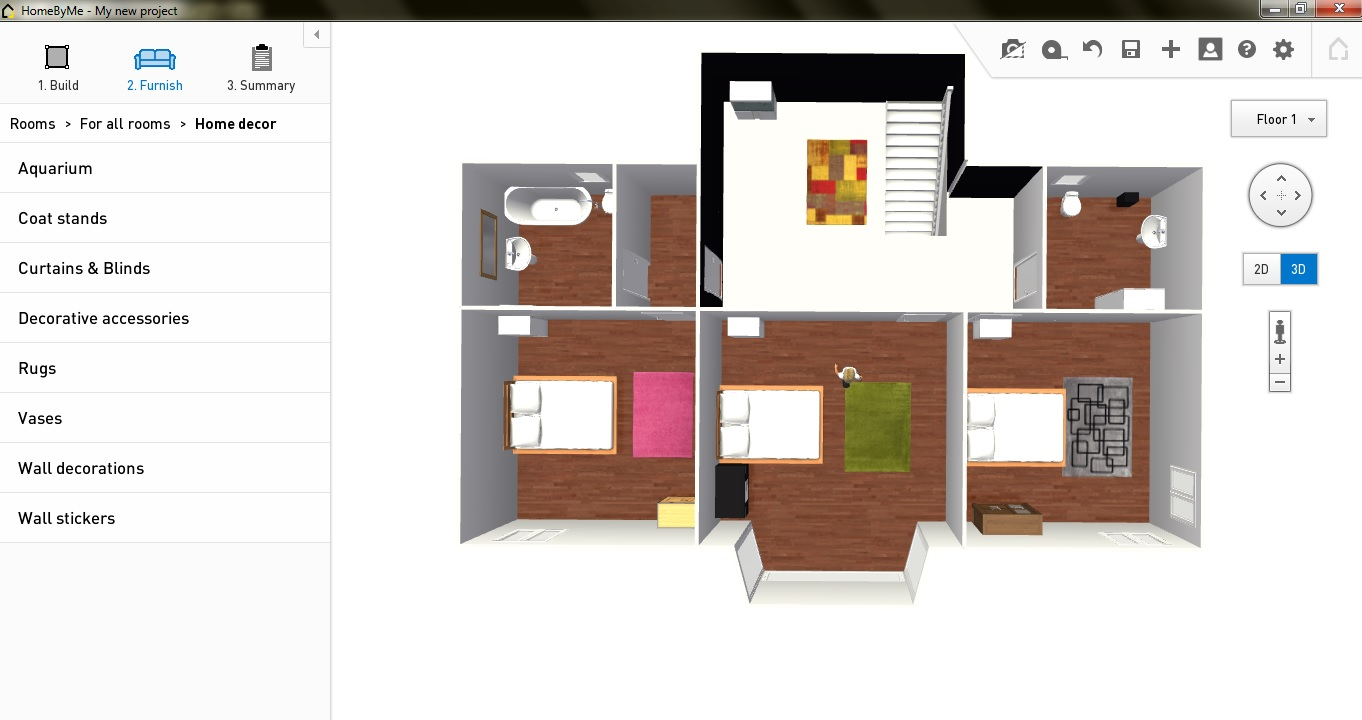 2d home design. HomyByMe First Floor Furniture  Free Plan Software HomeByMe Review