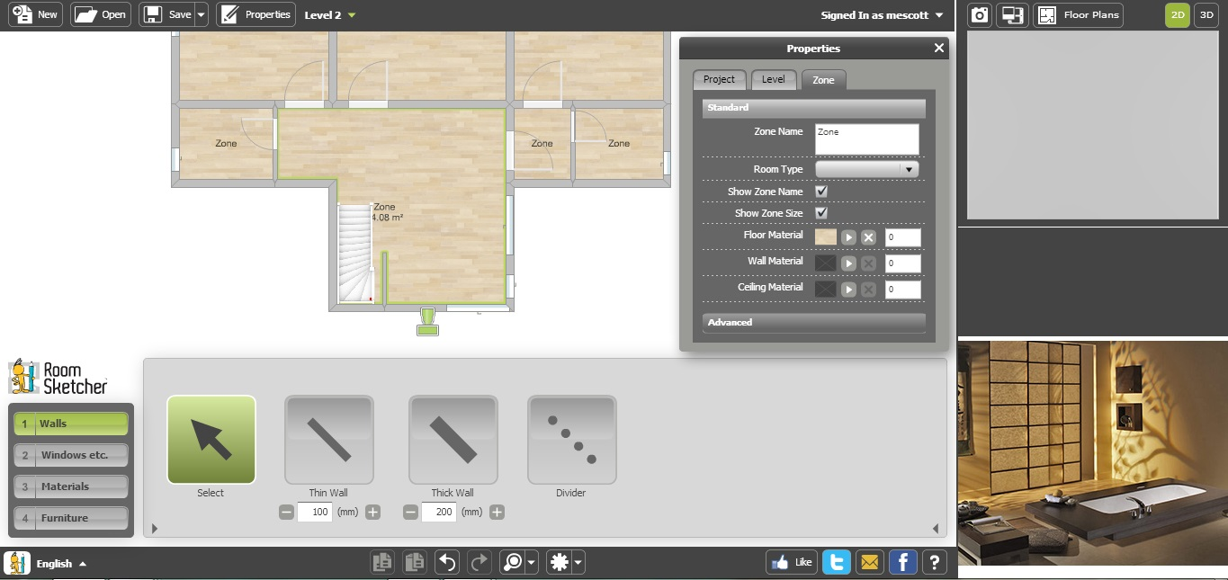 Free Floor Plan Software RoomSketcher area zoom in