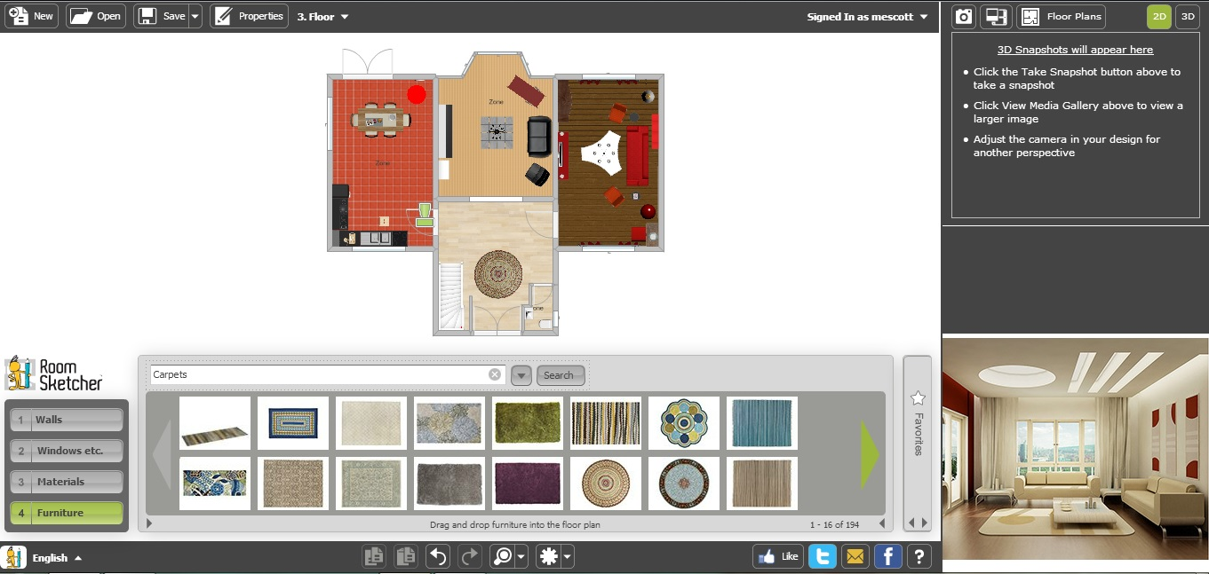 Free Floor Plan Software RoomSketcher Ground Floor with Furniture