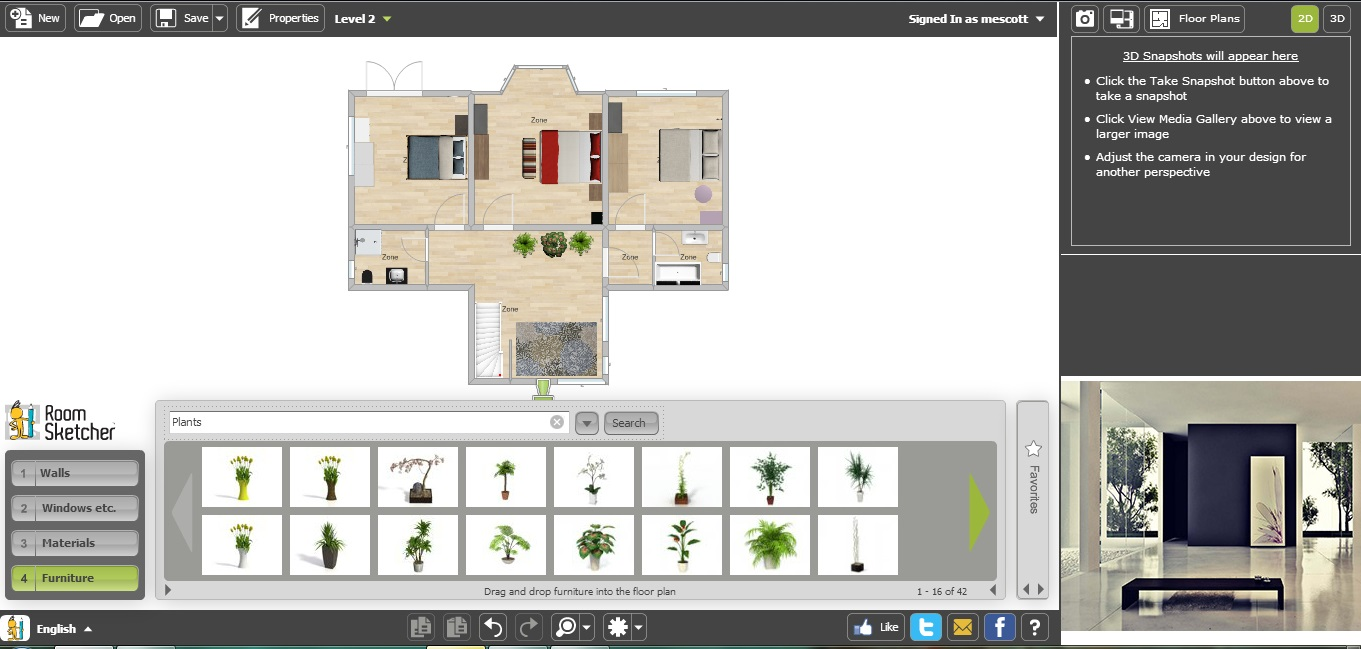 Free floor plan software roomsketcher first floor with furniture
