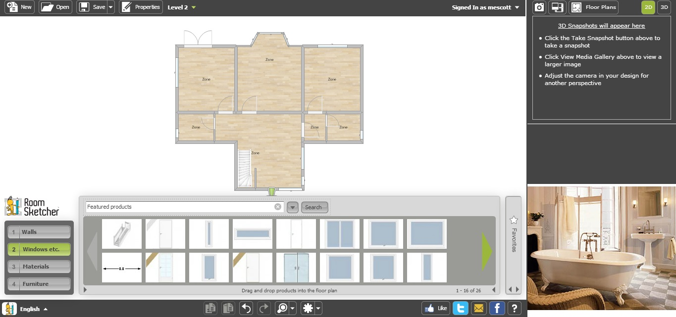 Free Floor Plan Software RoomSketcher First Floor No Furniture