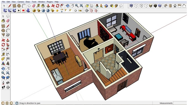 Adding furniture in Sketchup ground floor. Free Floor Plan Software   Sketchup Review
