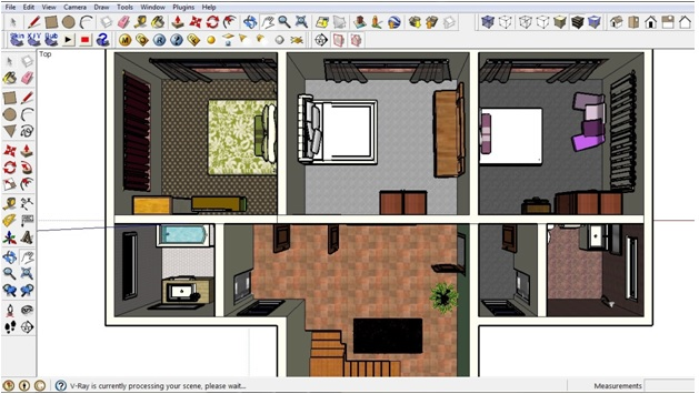 Adding furniture in Sketchup first floor