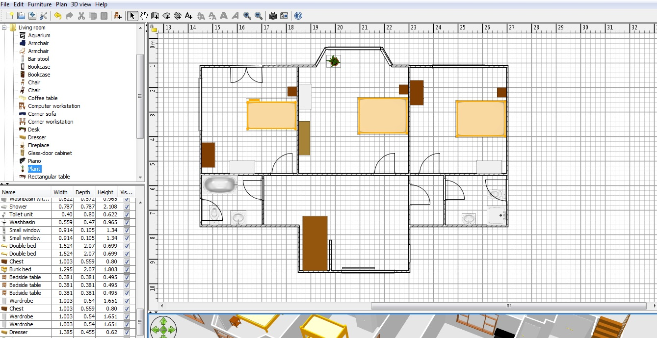 Free floor plan software sweethome3d review for Furniture planning tool free