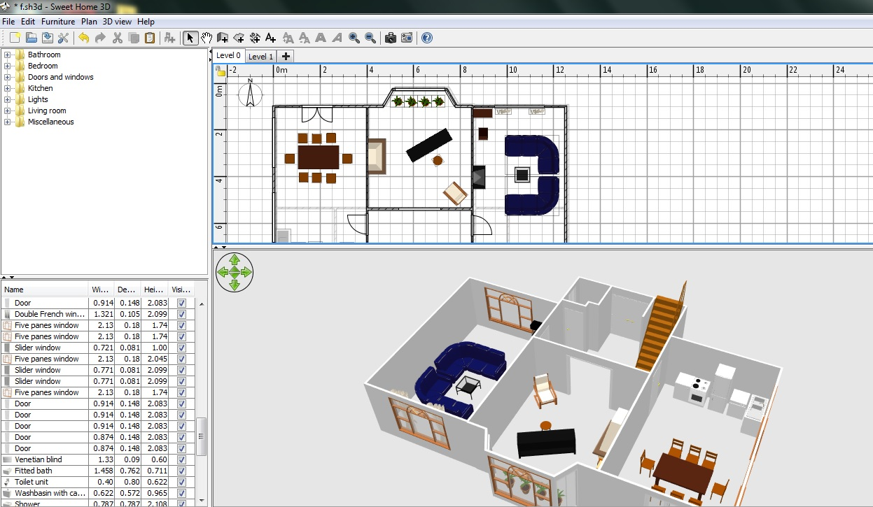 Free floor plan software sweethome3d review for Free 3d blueprints