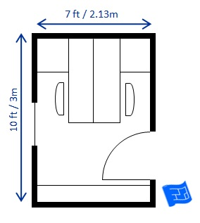 home office floor plan 7x10ft 2 person opposite