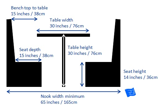breakfast nook bench dimensions