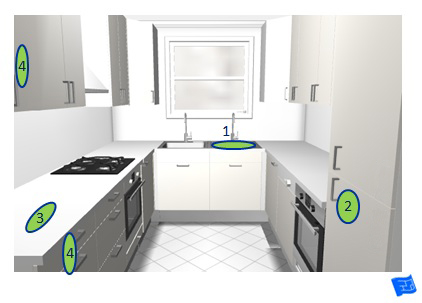 Kitchen triangle self service polygon 3D