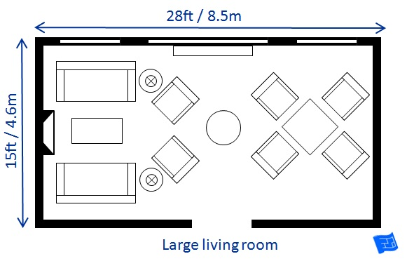 Living room size for Average family room size