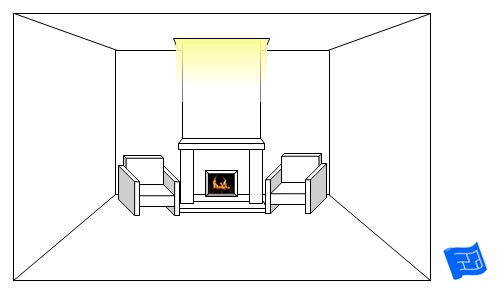 living room lighting ideas fireplace high chimney glow