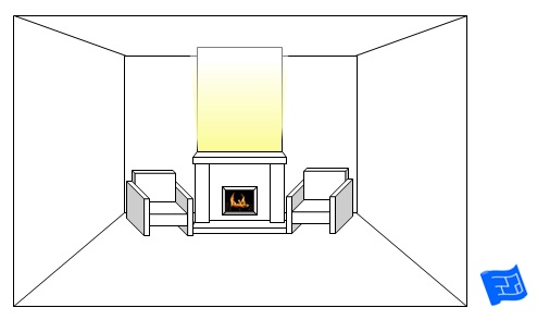 living room lighting ideas fireplace full mantel glow