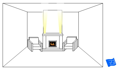 living room lighting ideas fireplace mantel upglow
