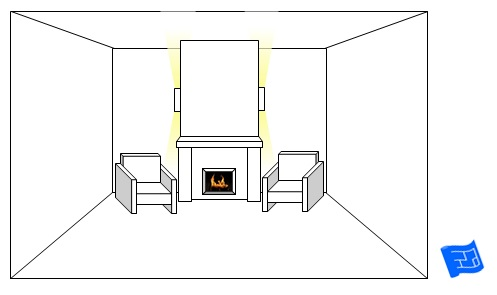 living room lighting ideas sconces chimney breast side